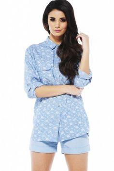Floral Print Denim Shirt #modmint