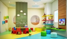 Brinquedoteca Daycare Spaces, Home Daycare, Kid Spaces, Indoor Playroom, Kindergarten Interior, Column Design, Playroom Design, Class Decoration, Kids Wall Decals