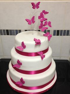 butterfly cake toppers for wedding cakes   Purple butterfly cake ...