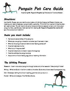Penguin Pet Care Guide, Mr. Popper's Penguins activity
