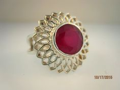 Sterling Silver Ruby Ring Size 8 #SolitairewithAccents