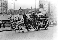 The Cleveland Fire Department's Engine NO. 2 on Public Square, 1910.
