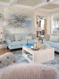 Dreamy Coastal Living Rooms Decoration - Home Decor Coastal Bedrooms, Coastal Living Rooms, Living Room Interior, Home Interior Design, Living Room Furniture, Coastal Cottage, Coastal Style, House Furniture, Interior Ideas