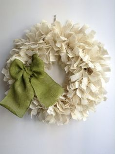 Burlap Christmas Wreath LARGE 24 Green Wreath by JBJunkMarket, $55.00