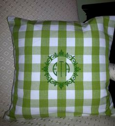 Monogrammed pillow. Monogram in greens on buffalo check. NellyBelle Designs