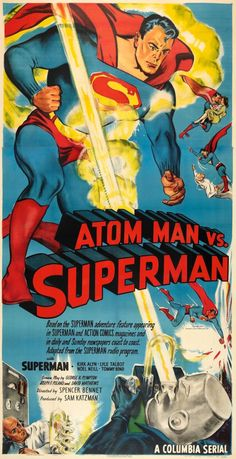Atom Man vs Superman - retro movie poster *