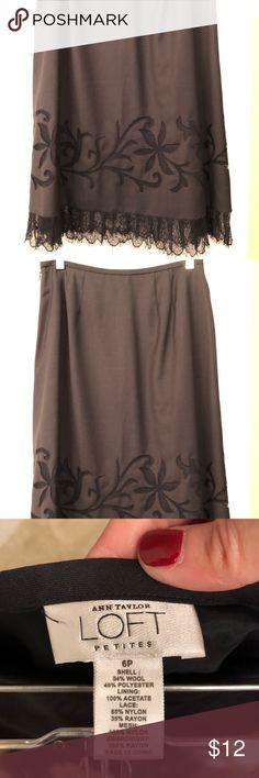Navy skirt Loft navy silk skirt with lace hem. LOFT Skirts A-Line or Full
