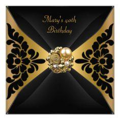 50th birthday party ideas   50th birthday elegant black gold jewel party birthday celebration ...