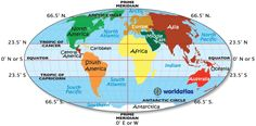 World Map with Longitude and Latitude, Tropic of Cancer and Capricorn, Equator Map, Prime Meridian. Free printable, like this one! 6th Grade Social Studies, Social Studies Resources, Equator Map, Free Printable World Map, Tropic Of Capricorn, Continents And Oceans, School, Planets, Geography