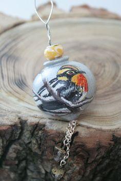 Bird Ornament Handpainted Blackburnian by ArtfullyReDesigned, $25.00
