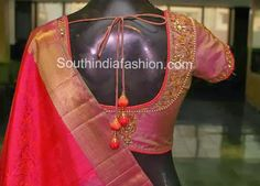 maggam work open back saree silk blouse