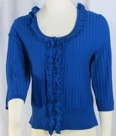 """CABLE & GAUGE"" BLUE SILK KNIT SWEATER BLOUSE"