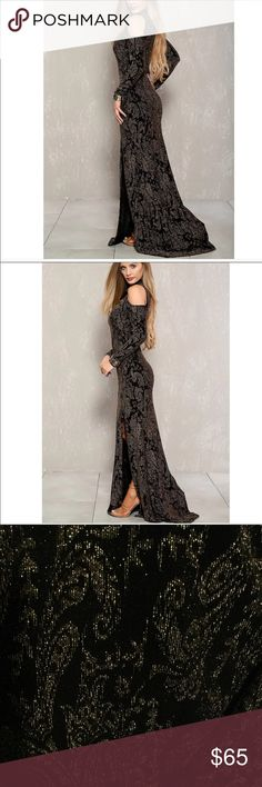Women Prom dress Gold and black shiny  Cold shoulder  Has a split down the middle It stretches to fit a large Please check out my page for more products PromGirl Dresses Prom