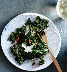Drizzle prepared kale chips with olive oil and sea salt (to taste), toss to coat, bake at 350 until crisp instead of frying.