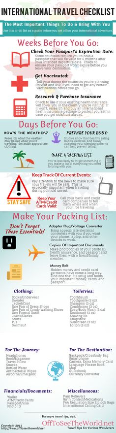 The Ultimate International Travel Checklist travel vacation tips infographic infographics vacations good to know abroad international travel checklists