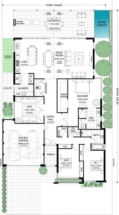 Fresno - Residential (one of my favorites) New House Plans, Dream House Plans, Modern House Plans, Small House Plans, Modern House Design, House Floor Plans, Home Design Floor Plans, Plan Design, House Plans Australia