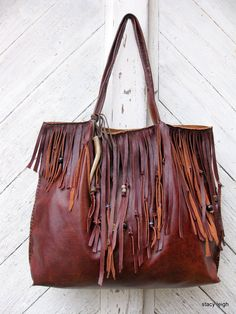 RESERVED for Erin Oxblood Leather Bohemian Fringe Tote Bag by Stacy Leigh Ready to Ship