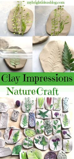 Nature Craft - Perfect for Earth Day Activity - Clay Imprints with Plants and Fl . Nature Craft – Perfect for Earth Day Activity – Clay Imprints with Plants and Flowers – My Br Clay Crafts For Kids, Toddler Crafts, Crafts For Teens, Preschool Crafts, Projects For Kids, Crafts To Sell, Arts And Crafts, Kids Nature Crafts, Art Projects