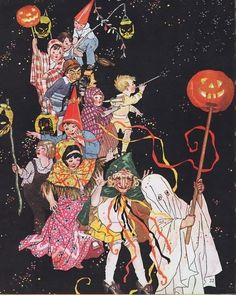 This colorful Halloween parade of children in costume bearing lanterns is from a 1920's magazine cover.