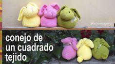Conejo hecho de un cuadrado tejido - Tejiendo Perú