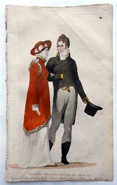 1807 Beau Monde Morning Dress -- I LOVE the trim on that red pelisse! Regency Dress, Regency Era, 1800s Fashion, Vintage Fashion, Medieval Fashion, Historical Costume, Historical Clothing, Vintage Gowns, Vintage Outfits