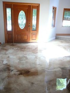 Acid Stained Concrete, Gorgeous Floor - A Interior Design Basement Remodeling, Basement Flooring, Grey Flooring, Plank Flooring, Kitchen Flooring, Plywood Floors, Timber Flooring, Industrial Flooring, Linoleum Flooring