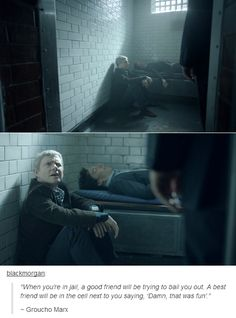 The first time we see Sherlock get thrown in jail, John bailed him out. He is now in the cell, next to him. Character development, anyone?