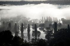 Jugiong, NSW, Australia: morning fog lifting off the flooded plains