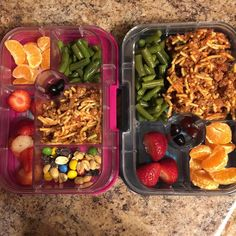 We are back to our routine. Traveling is wonderful but there is something about being home as well  Today's #kidlunch features #leftovers  #spaghetti and green beans from #dinner last night and as always I try to send 3 servings of #fruitandveggies in their #lunchbox #oranges and strawberries  Sister got a little #trailmix thrown in there too. And totally awesome are those gummies...they are actually just real fruit and veg  Every parent's dream come true! A healthy gummie  #bentobox…