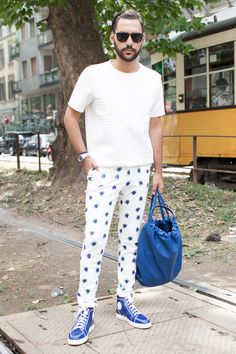 STREETSTYLE   Milan Fashion Week SS15 Day 1 // omg look at these pants! wonderful