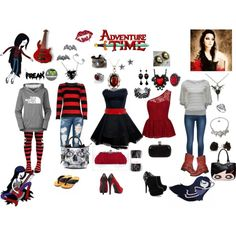 Marceline, The Vampire Queen by mollysupertramp on Polyvore featuring moda, River Island, branch, A Wear, The North Face, 7 For All Mankind, Mizutori, Blink, Reiss and Frye