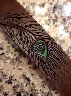 Handmade Leather Tooled Peacock Feather by lorisleatherandmetal