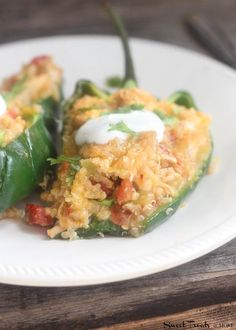 Chicken and Quinoa Stuffed Poblano Peppers- added 1/2 cup cream cheese and topped with black olives and sour cream. omitted canned tomatoes. So yummy!