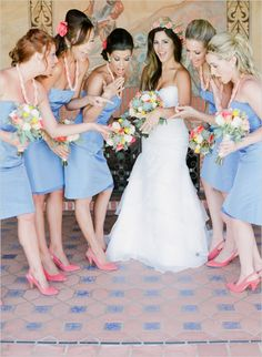 periwinkle bridesmaid dresses #kneelengthdresses  #weddingchicks http://www.weddingchicks.com/2013/12/20/mint-and-peach-wedding/