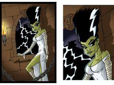 Rob Kramer - Illustration - The Bride of Frankenstein Pin-Up - Pencils + Prismacolor Markers + Adobe Photoshop - www.JohnnySupersonic.com