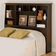 Amazon.com: Prepac Tall Double/Queen Storage Headboard, Espresso: Home & Kitchen