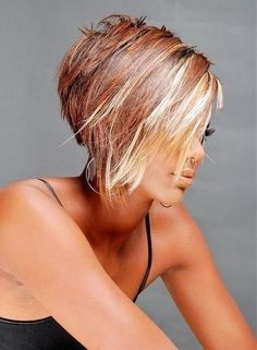 Short hair red and blonde highlights
