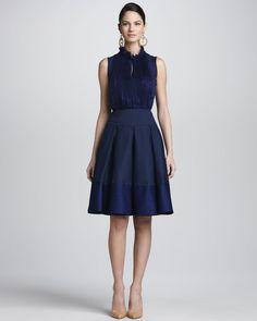 Oscar De La Renta Blue Box Pleated Aline Skirt