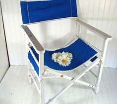 Vintage Wood & Canvas Director Chair  Chippy White by DivineOrders, $55.00