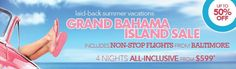 Up to 50% off...4 nights ALL-INCLUSIVE  Contact me to book your trip to Grand Bahama Island #GrandBahama #Allinclusive #Caribbean #Paradise #BeachThursday   www.exclusivetravel.biz