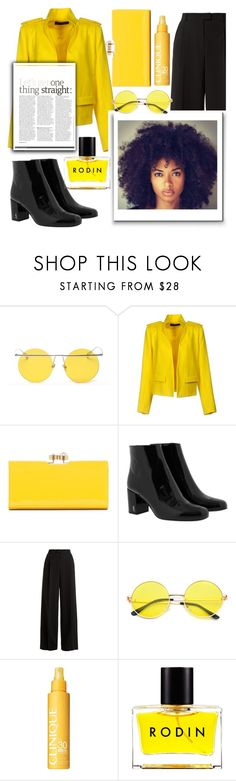 """: black & yellow :"" by fhawn ❤ liked on Polyvore featuring LMNT, Alexandre Vauthier, Ted Baker, Yves Saint Laurent, RED Valentino, Clinique and Rodin"