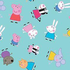 Peppa Pig and Friends Aqua Fabric By The Yard Peppa Pig Wallpaper, Cute Emoji Wallpaper, Cool Wallpaper, Funny Iphone Wallpaper, Homescreen Wallpaper, Aesthetic Iphone Wallpaper, Peppa Pig Funny, Peppa Pig Memes, Papa Pig