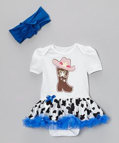 Take a look at this White & Blue Cowgirl Skirted Bodysuit & Headband - Infant by Baby Gem on #zulily today!