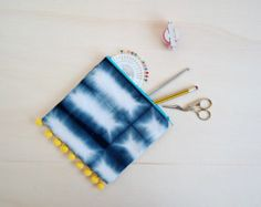 Navy Shibori bullet journal zip pouch, Hand Dyed with yellow Pompom Trim, pencil case, bullet journa Planner Sheets, Shibori Tie Dye, Handmade Items, Handmade Gifts, Pom Pom Trim, Retro Floral, Craft Kits, Gifts For Her, Etsy