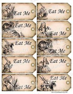 Alice in Wonderland Eat Me Tags Printable