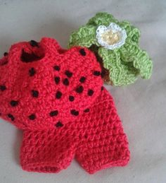 itty bitty strawberry doll outfit by bootneckbabies on Etsy