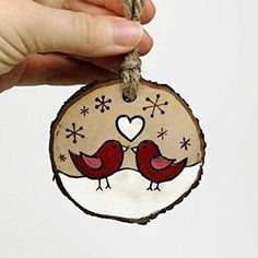 Wood Burning Art Ideas Tree Slices Ideas For 2019 Wood Slice Crafts, Wood Burning Crafts, Wood Burning Art, Wood Crafts, Diy Crafts, Wood Ornaments, Diy Christmas Ornaments, Christmas Art, Christmas Projects
