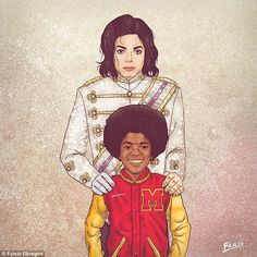 Mini me: Colombian illustrator Fulaleo Obremor drew pictures of seven male celebrities standing with younger versions of themselves, like this one of Michael Jackson
