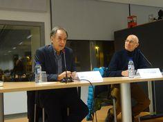 30-11-2016 Antonio Soler y Paco Roda en un momento de la charla. Antonio Soler eta Paco Roda solasaldian.