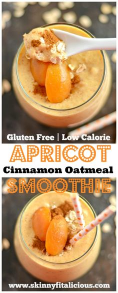 This Cinnamon Oat Apricot Smoothie is thick, creamy & bursting with sweet cinnamon flavors. This smoothie is guaranteed to keep you satisfied for hours. An easy gluten-free, vegan breakfast or snack. #smoothie #apricot #cinnamon